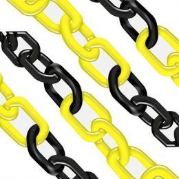 Corrente Plástica elo grande zebrada amarela/preta