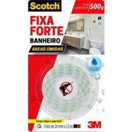 Fita Dupla Face 3M Scotch Fixa Forte Banheiros - 24 mm x 1,5 m