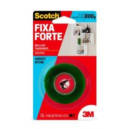 Fita Dupla Face 3M Scotch Fixa Forte Transparente - 19mm x 2M