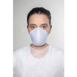 Máscara Anatômica Reutilizável Branca com elástico com 5 peças