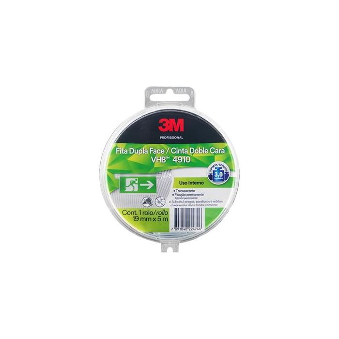 Fita Dupla Face 3M VHB 4910 19mm x 5M - Estojo