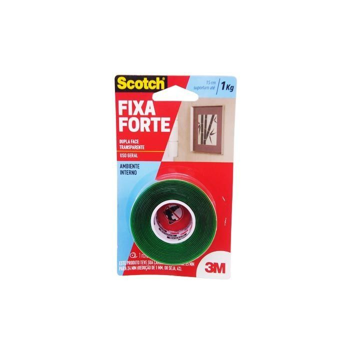 Fita Dupla Face 3M Scotch Fixa Forte Transparente - 24mm x 2M