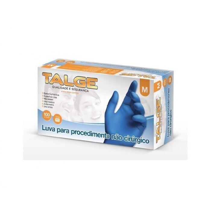Luva Nitrílica Procedimento Azul Sem Pó - CA: 39270- Talge